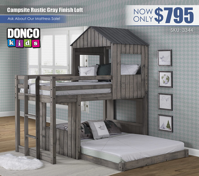 Campsite Rustic Gray Finish Loft_Donco Kids_3344-TFRDG-001