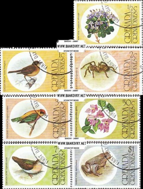 Známky Grenada Grenadíny 1976 Fauna a flóra, razítkovaná séria