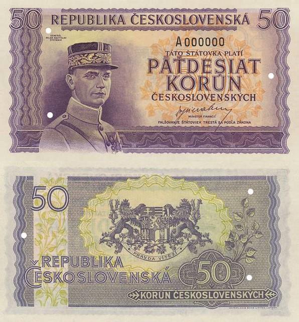50 korún Československo 1945 tlačová skúška - REPLIKA