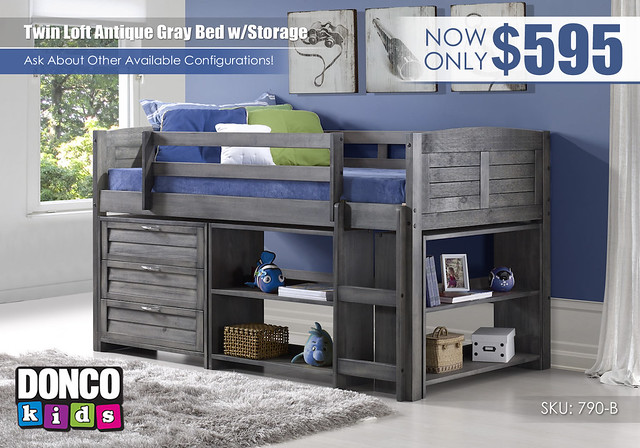 Antique Gray Loft Twin Storage Configuration B_Donco Kids_790