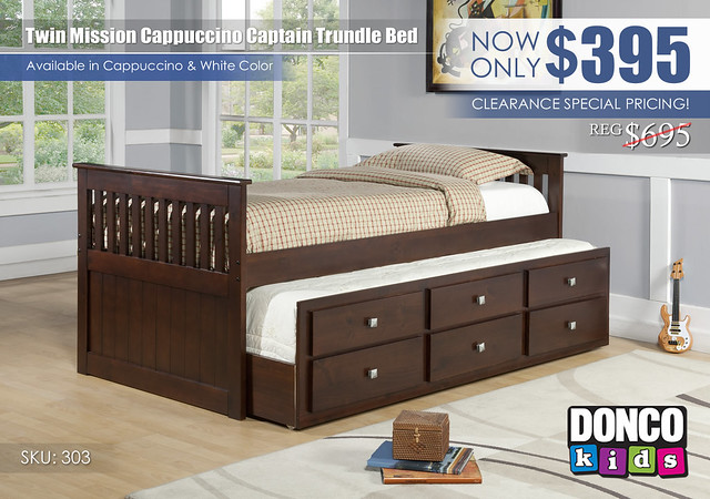 Mission Cappuccino Twin Captain Trundle Bed_303_Donco