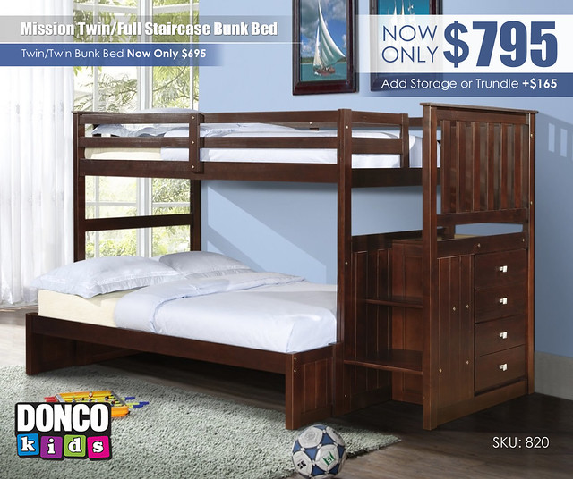 Twin over Full Mission Staircase Bunk Bed_820