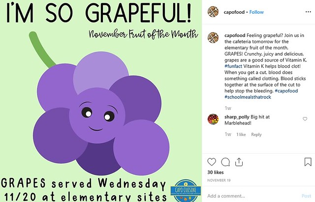 Capistrano Unified School District Grapes social media post