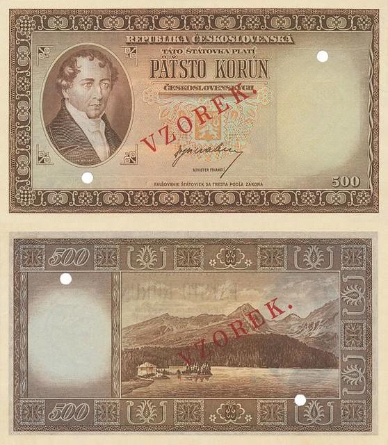 500 korún Československo 1945 Kollár VZOREK - REPLIKA