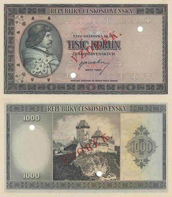 1000 korún Československo 1945 Jiří z Poděbrad VZOREK - REPLIKA