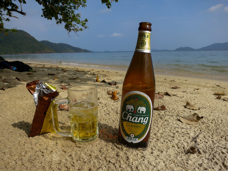 Drinking a big Chang beer on Koh Chang island