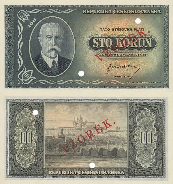 100 korún Československo 1945 VZOR - REPLIKA