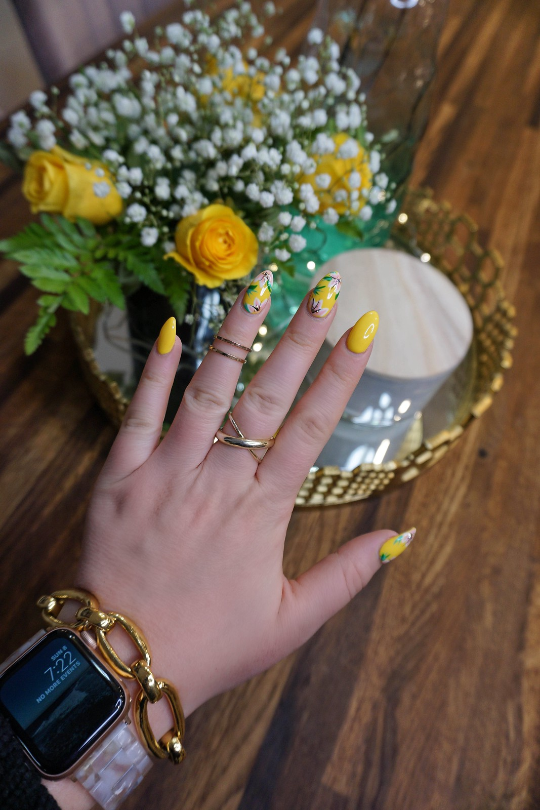 Yellow Flower Nails Spring Nail Art Manicure Inspiration Bright Nail Design Ideas
