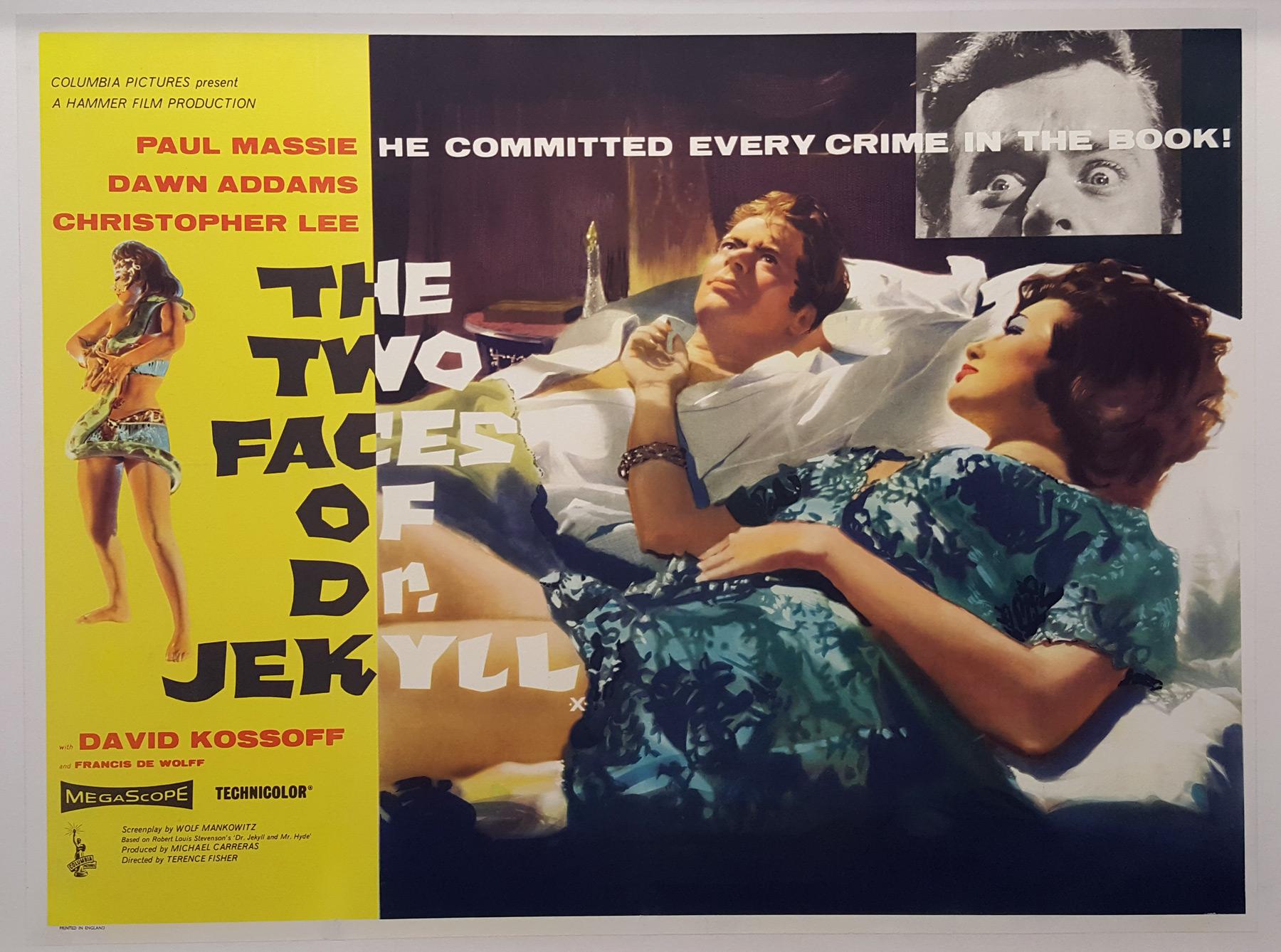 Affiche britannique quad crown du film Les Deux visages du docteur Jekyll (Terence Ficher, 1960)