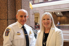 "State Representative Carol Hall (R-59) joined Enfield Police Chief Alaric Fox to advocate for HB 5450 ""An Act Concerning Emergency Intervention by a Police Officer when a Person Suffers an Opioid Overdose"" during a hearing in the Public Safety and Security Committee on March 10th."
