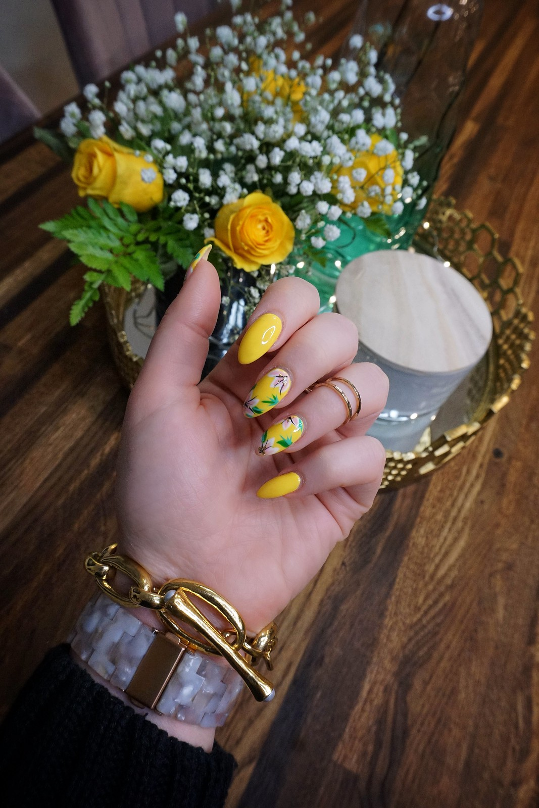 Yellow Flower Nails Spring Nail Art Manicure Inspiration