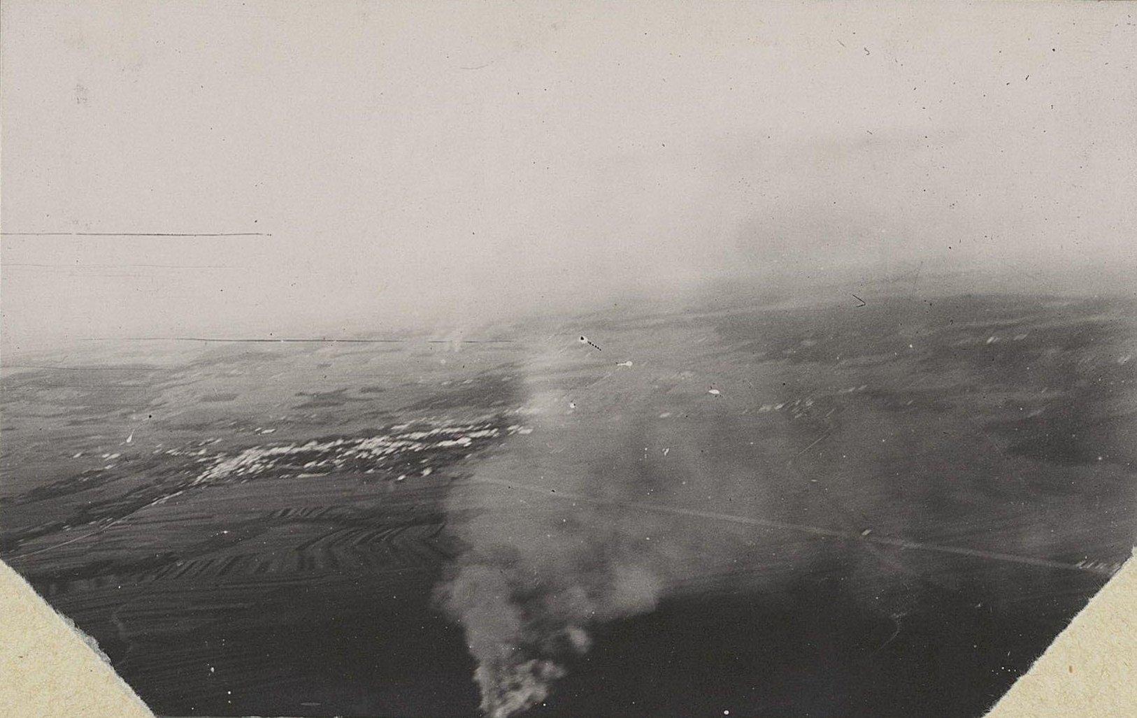 Город Злочев. Пожар фольварка. Снято с аэроплана