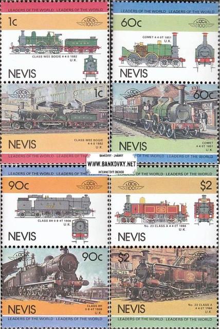 Známky Nevis 1985 Lokomotívy séria MNH