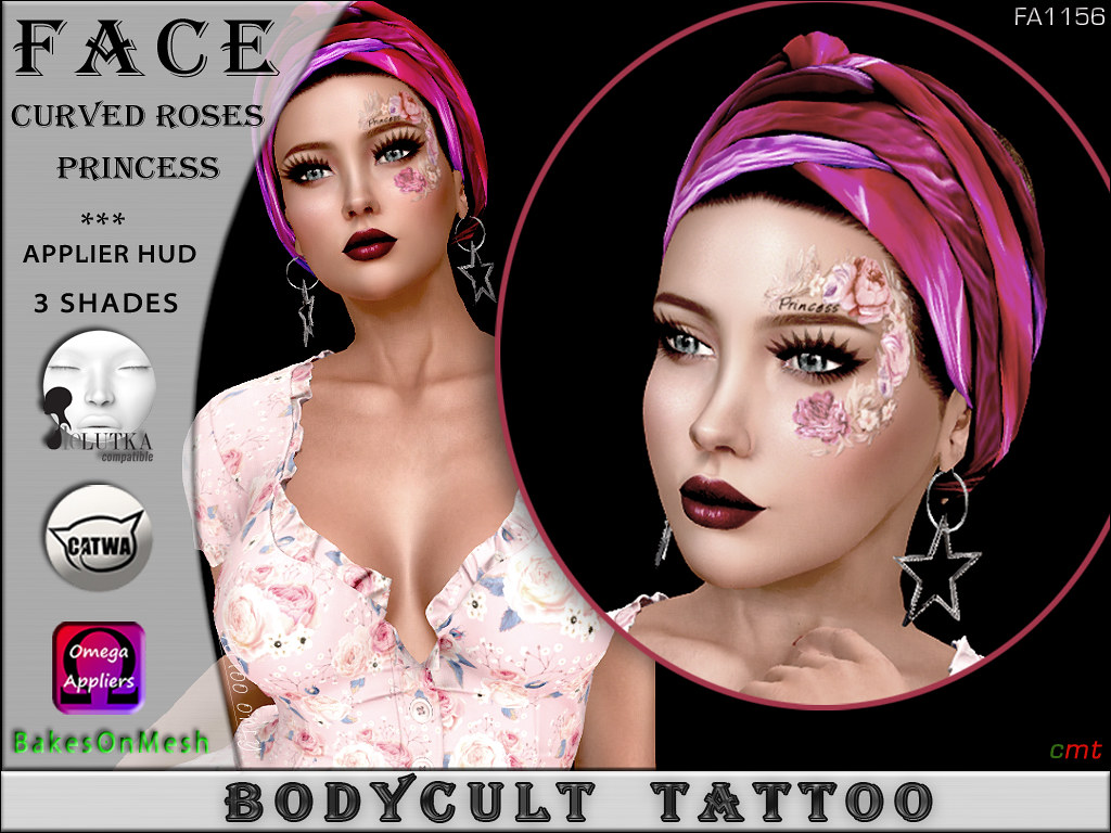 BodyCult Tattoo FACE Curved Roses Princess FA1156