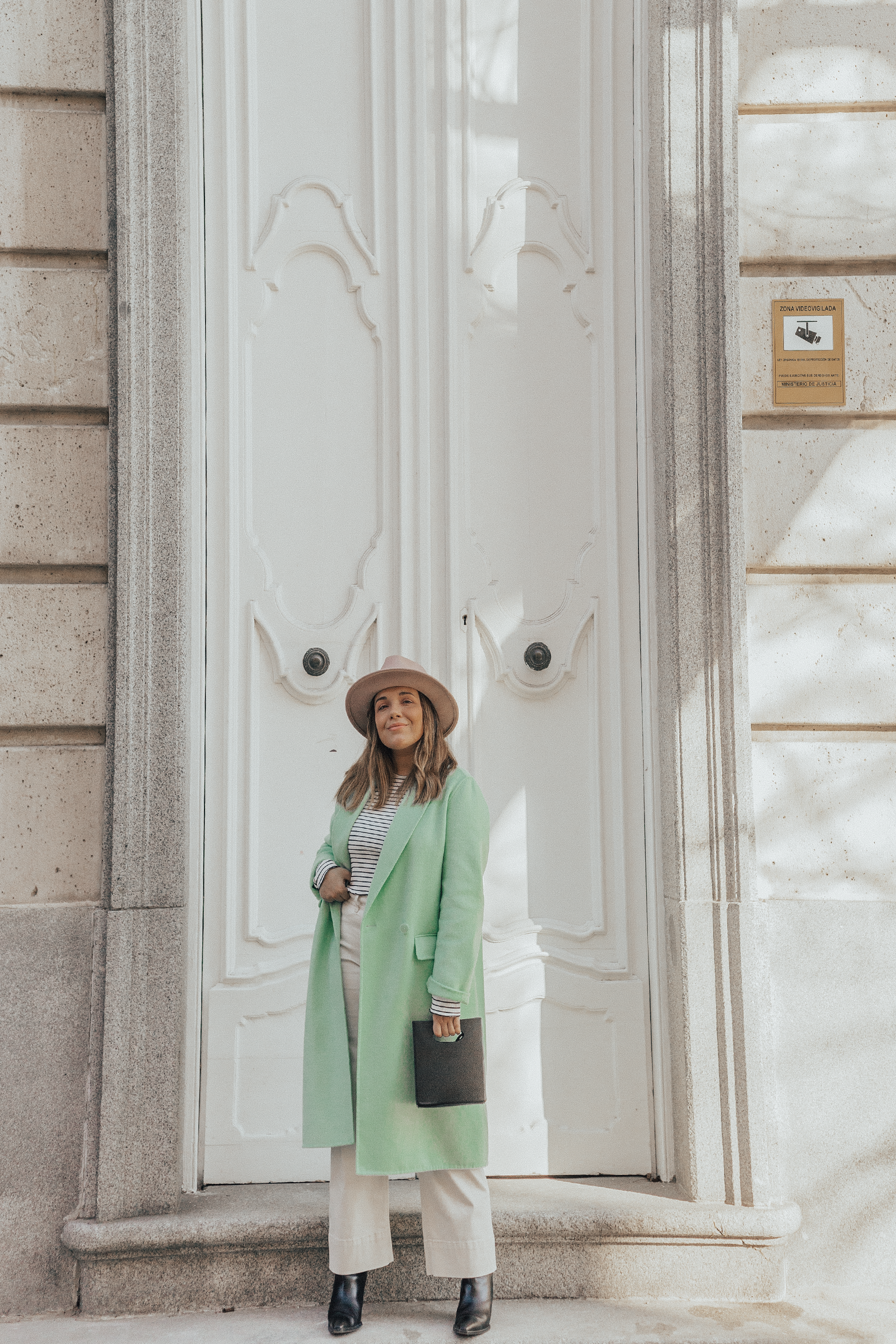 pastel green coat outfit