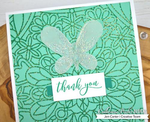 A to Z Jen Carter Quick & Easy Mardi Gras Butterfly Thank You Closeup