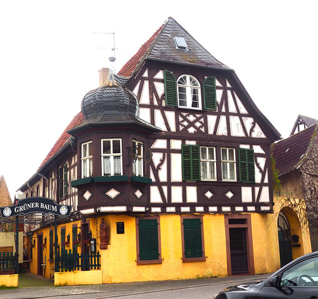 Restaurant in the Old Town Oestrich-Winkel on the River Rhine, Germany