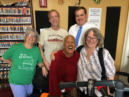 Wednesday New Orleans Music Show crew - Joanne Cole, J Pegues, Margie Perez, Chris Lebato, and Missy Bowen. Photo by Carrie Booher.