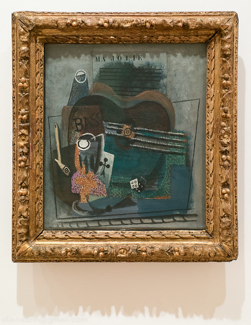 Ma Jolie, 1914, Pablo Picasso - Pipe, glass, dice, ace of clubs, sheet music and and a bass