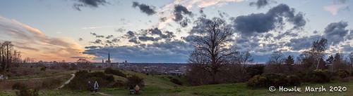uk sky europe england sunset dusk norfolk norwich hill slope cloud sun