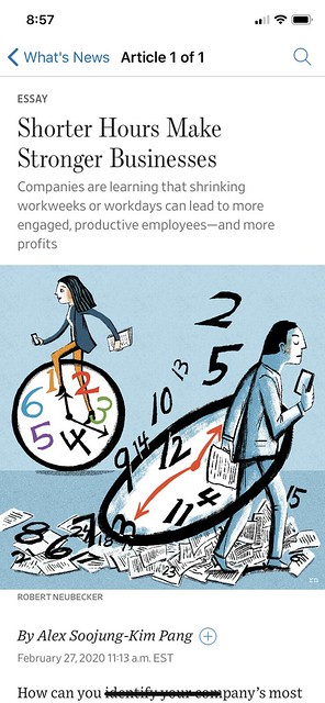 My Wall Street Journal piece on the business benefits of the 4-day week.