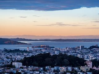 Buena Vista Park, Alcatraz, and beyond at golden hour