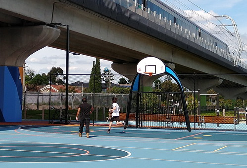 Basketball under the skyrail at Clayton South