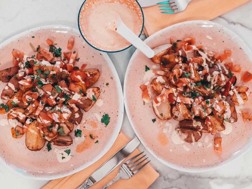 Smoky Shrimp & Patatas Bravas