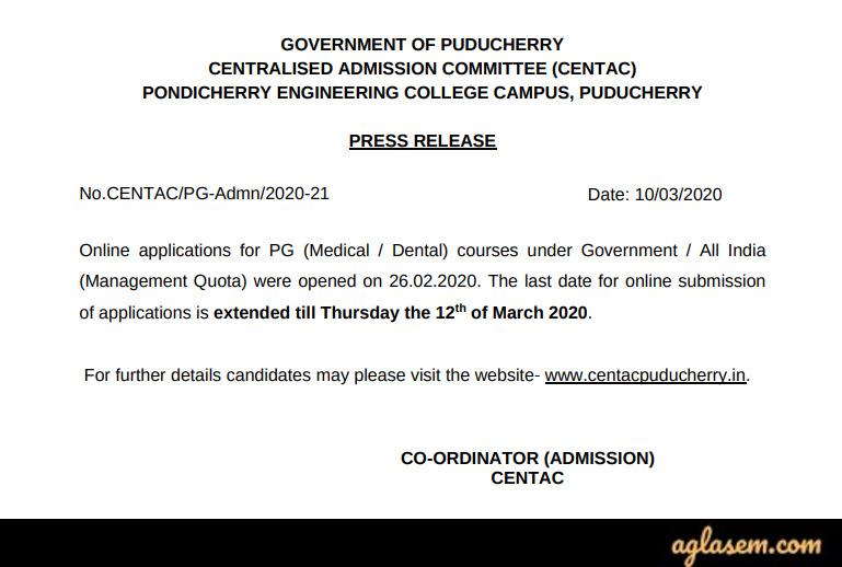 CENTAC Pondicherry PG Medical/Dental Admission 2020 Form Deadline Extended