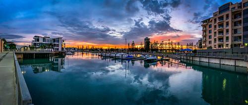 adelaide australia glenelgnorth sa southaustralia apartments boats clouds marina morning panorama reflection sky sunrise goldenhour