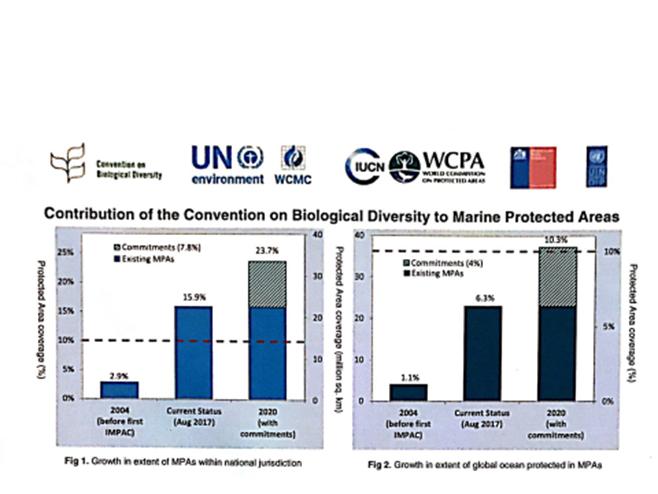 圖2:左圖是國家管轄以內海域的海洋保護區的成長速率;右圖是全球海洋,包括公海在內的海洋保護區的成長速率。縦軸為海洋保護區面積所佔的比例。