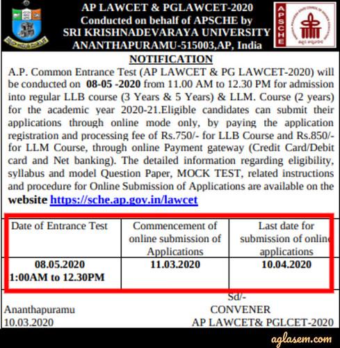 AP LAWCET 2020 Admission Notification