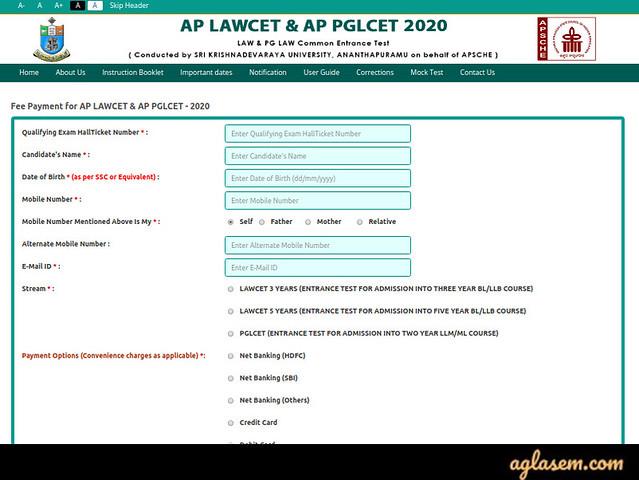 AP LAWCET APPLICATION FORM 2020