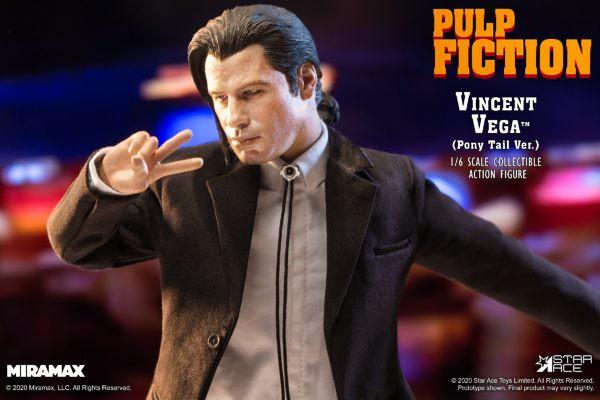 「困惑的約翰屈伏塔」經典再現!STAR ACE《黑色追緝令》文生‧韋格 馬尾ver. 1/6比例 可動人偶作品(Vincent Vega Pony Tail Ver.)