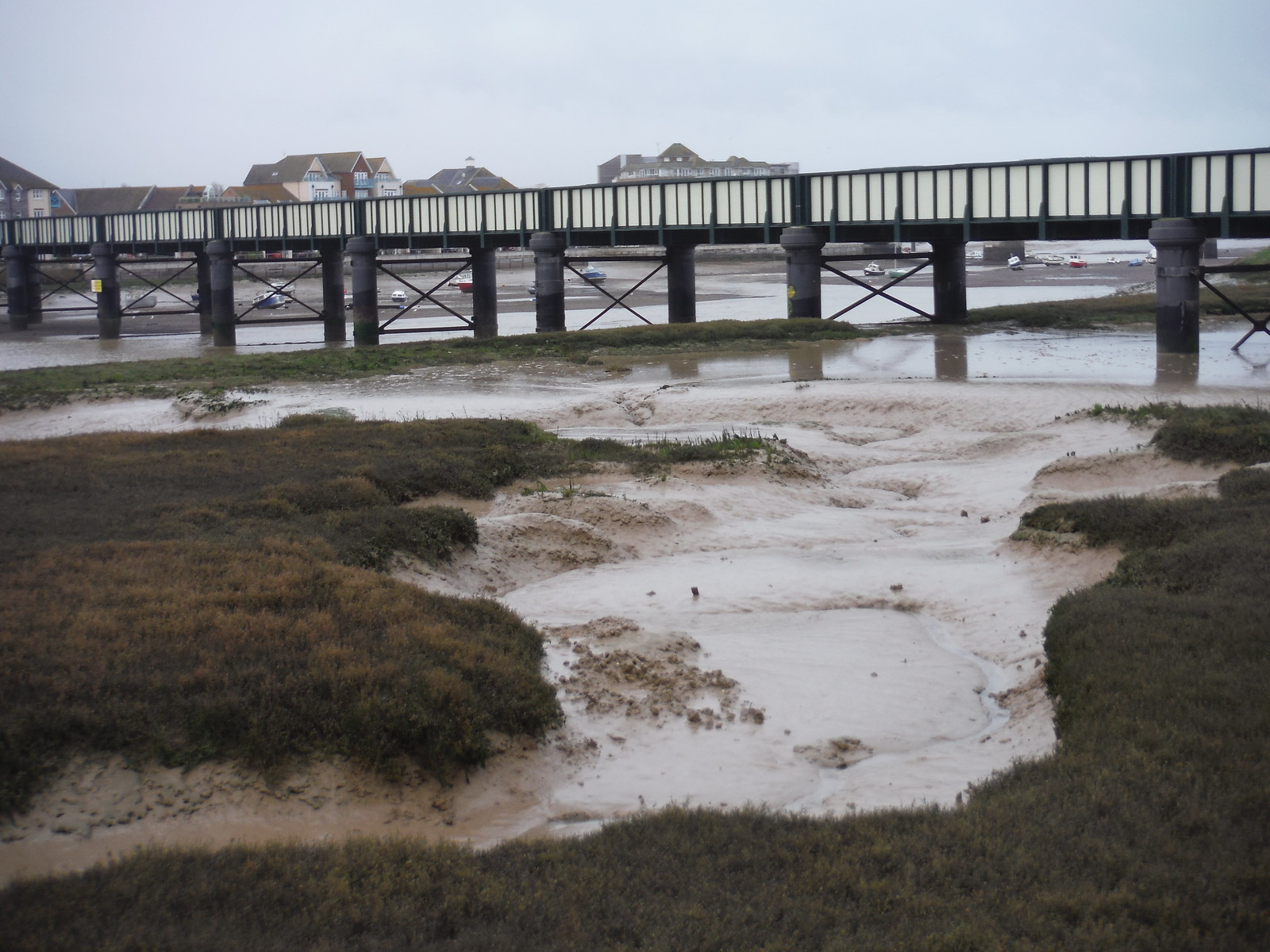 Low Tide by Shoreham Railway Bridge SWC Walk 26 - South Downs Way: Amberley to Shoreham-by-Sea or Lancing