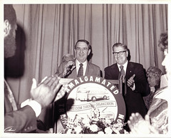 Transit union president Davis in a happy moment: 1975 ca.