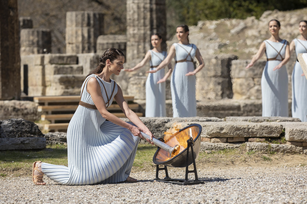 IOC President, Thomas Bach attends the lighting of the flame ceremony held in Ancient Olympia, Greece. Summer Olympic Games Tokyo 2020