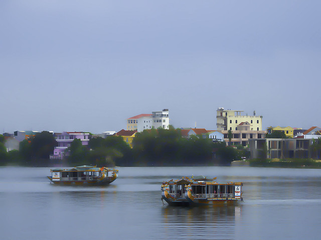 Vietnam: Hue, Perfume River abstract.