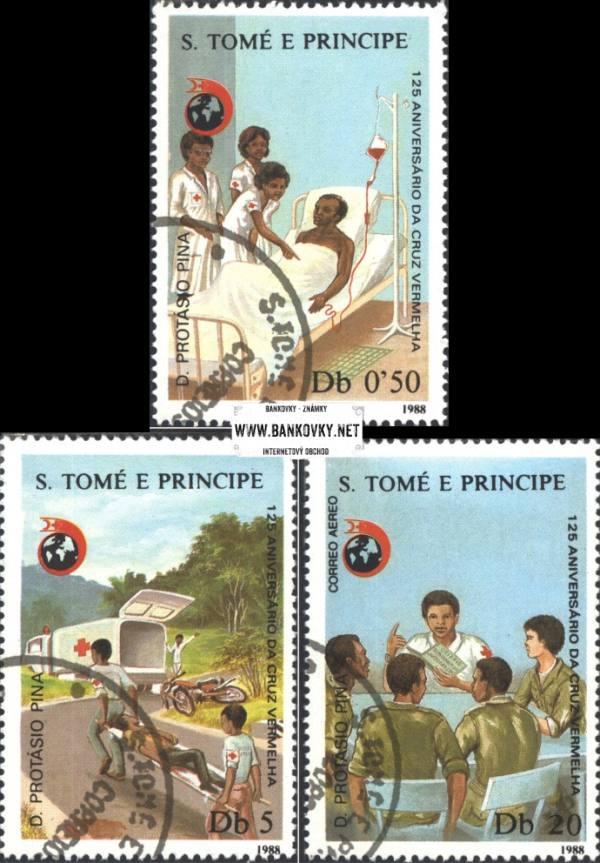 Známky Svätý Tomáš 1988 Červený kríž razítkovaná séria