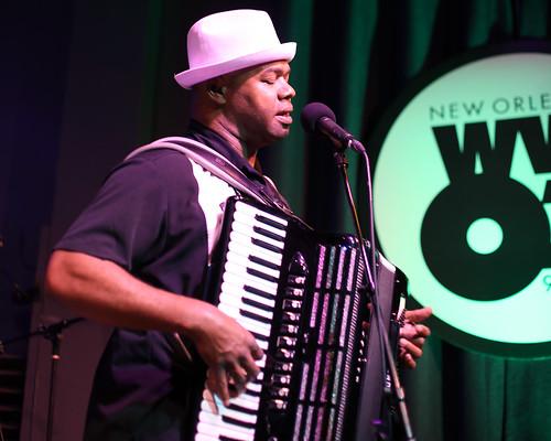 Sunpie Barnes at WWOZ - March 11, 2020. Photo by Bill Sasser.