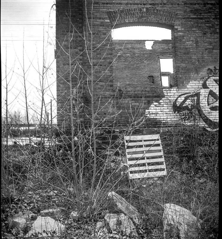 urban decay, railroad and river district, Asheville, NC, late light, Biltmore Estate, Asheville, NC, Ansco Flash Clipper, Fomapan 200, Moersch Eco film developer, 3.11.20 (1 of 1)