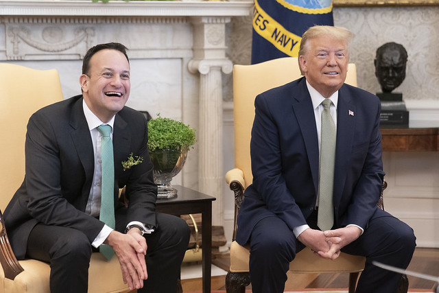 President Donald Trump (right) and Irish Prime Minister Leo Varadkar meet with reporters