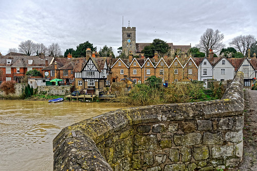 river water flow flood medway aylesford kent tree nikon nikond700 nikkor nikkoraf28105mmd bridge stone view church clock houses boats ghe