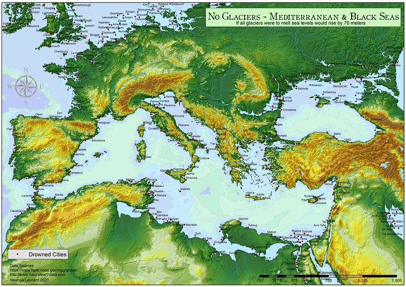 Mediterranean and Black Seas with a 70 meters sea-level rise