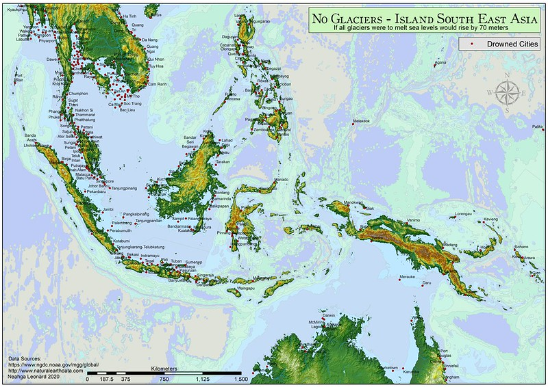 Island southeast Asia - if all glaciers were to melt
