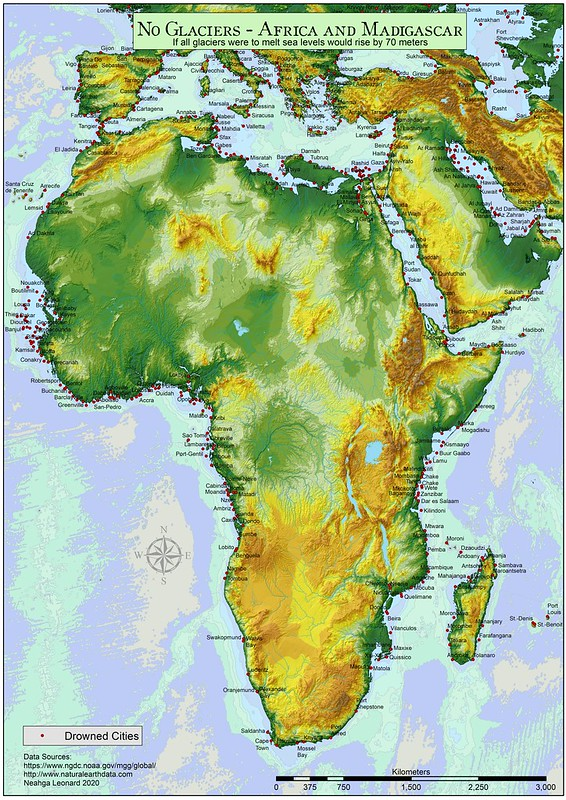 Africa and Madagascar: if all glaciers were to melt, sea level would rise 70 meters