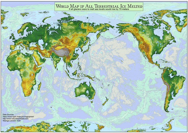 Global map if all terrestrial ice melted