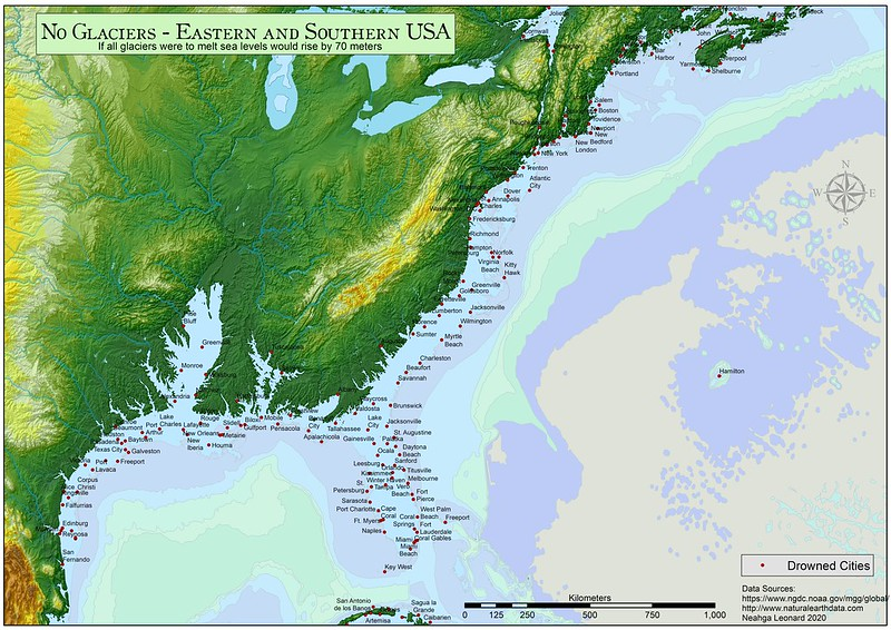 Eastern and Southern United States with a 70 meters sea-level rise
