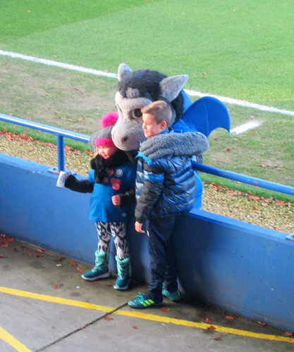 Spotland Desmond the Dragon With Young Fans