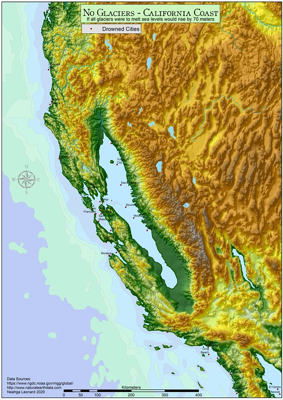 Cifornia Coast: if all glaciers were to melt sea levels would rise by 70 meters